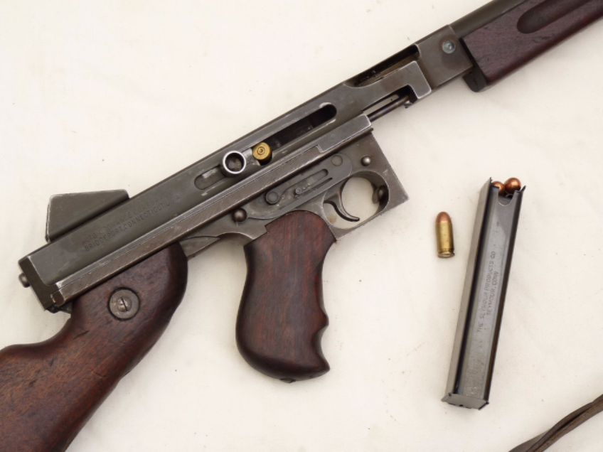 Deactivated American Thompson M1A1  45 cal smg sliding cocking